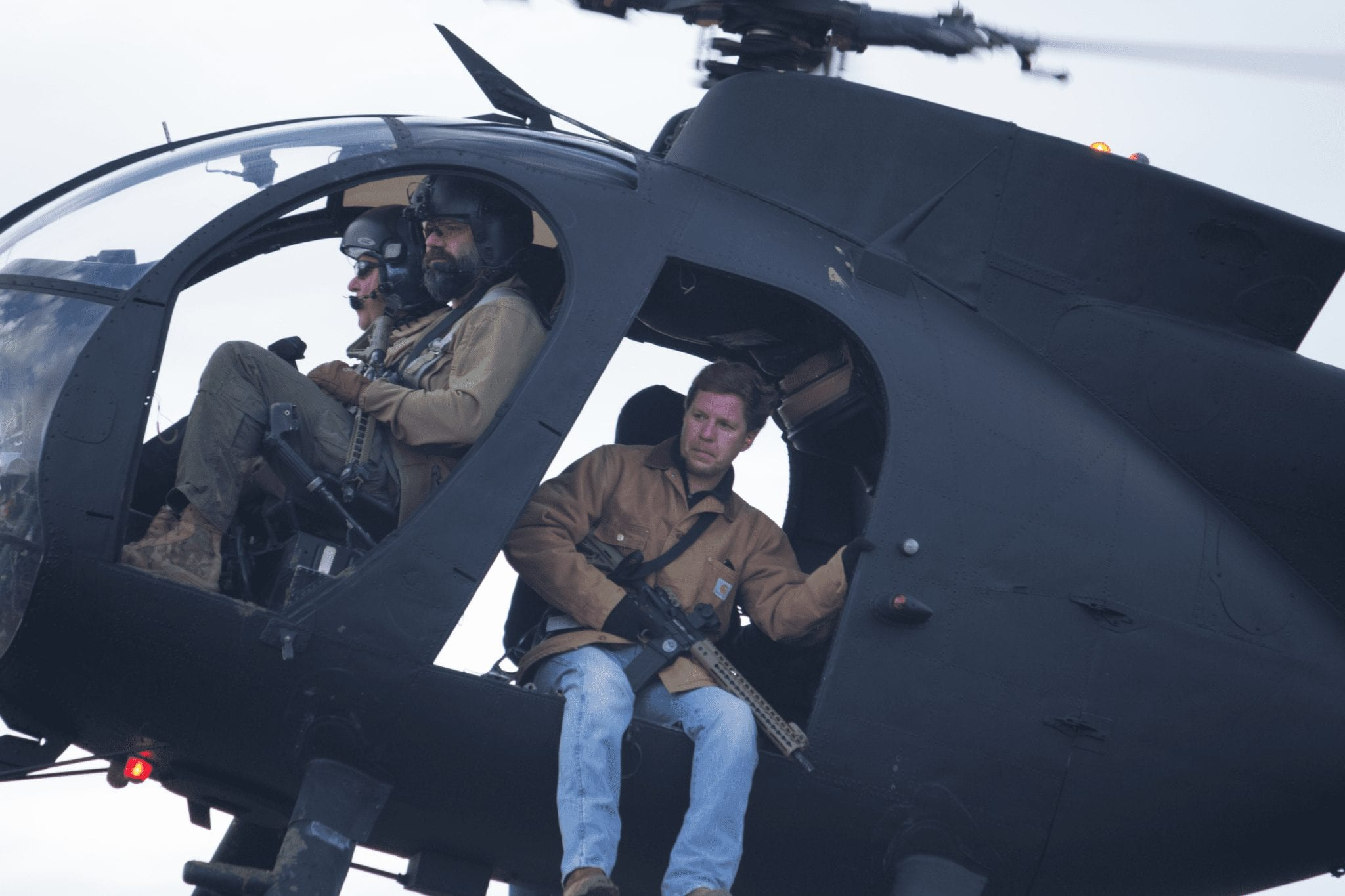 Men in a helicopter